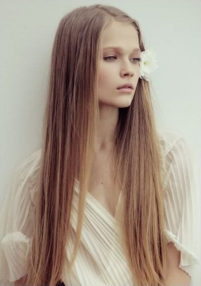 Pretty long hairstyle with flower