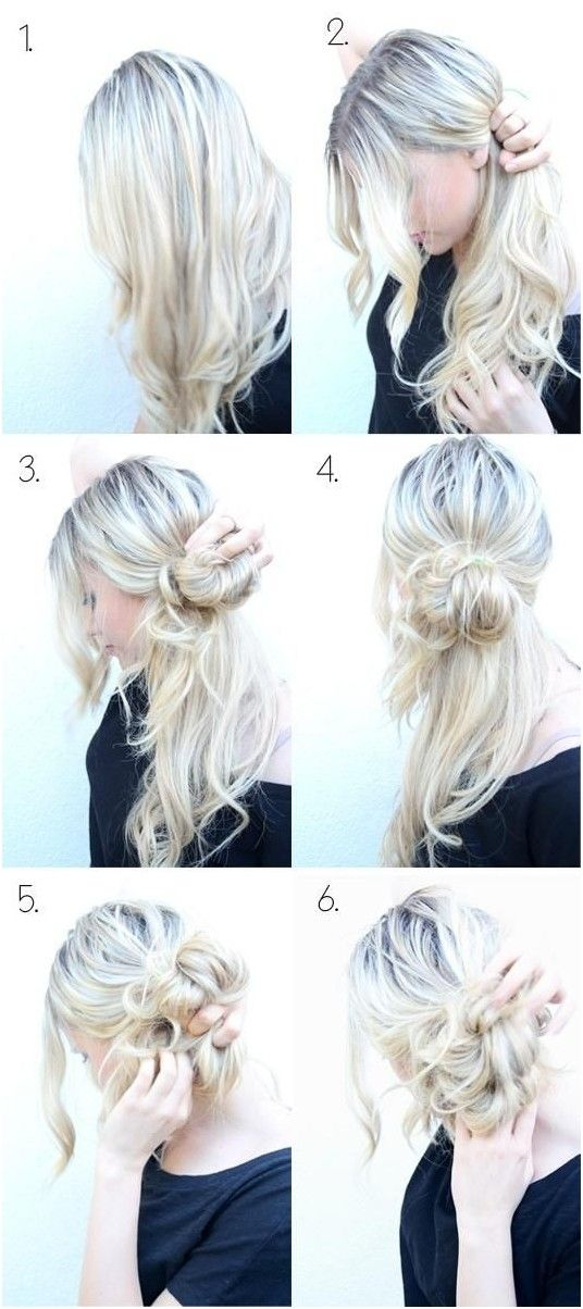 Messy braided updo with low bun