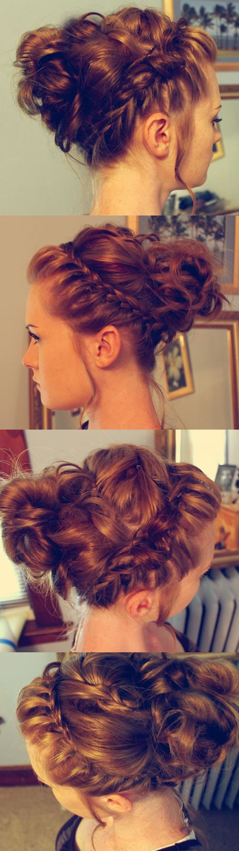 Messy braided updo without bangs