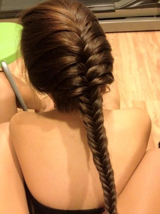 Long fishtail braid hairstyle