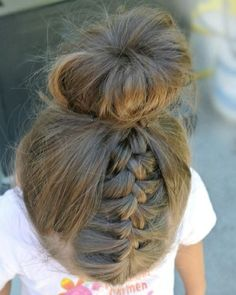 Double braid bun hairstyle for kids