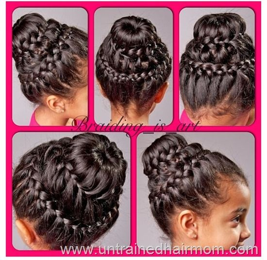 Double braid crown bun hairstyle for kids