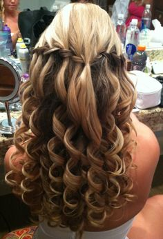 Waterfall braid for prom hairstyles