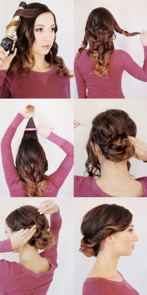 Pretty twisted bottom updo hairstyle