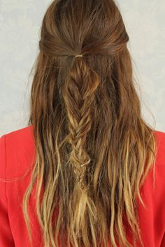 Pull through the braid for half up half down hairstyles