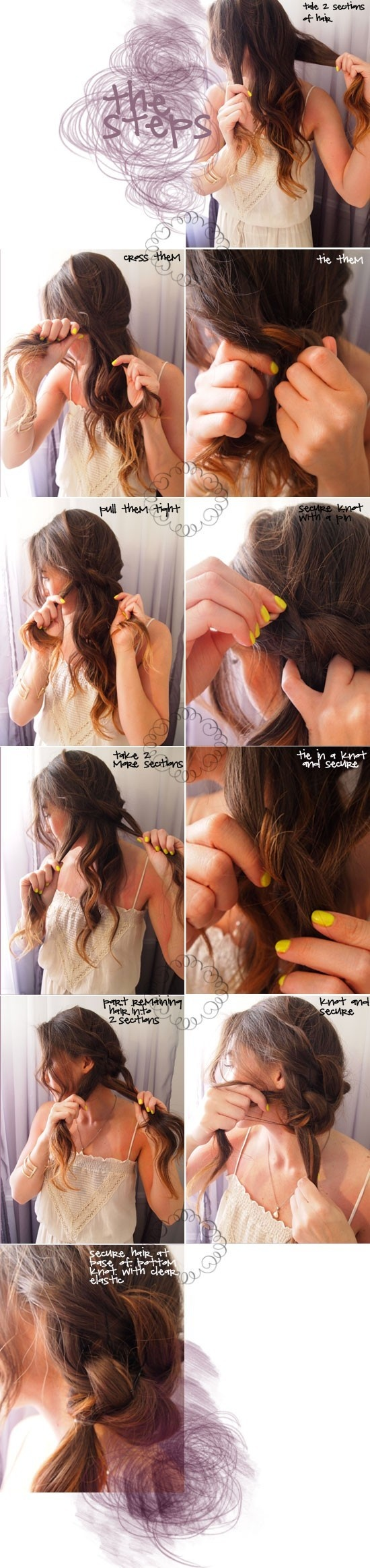 Romantic knotted ponytail tutorial