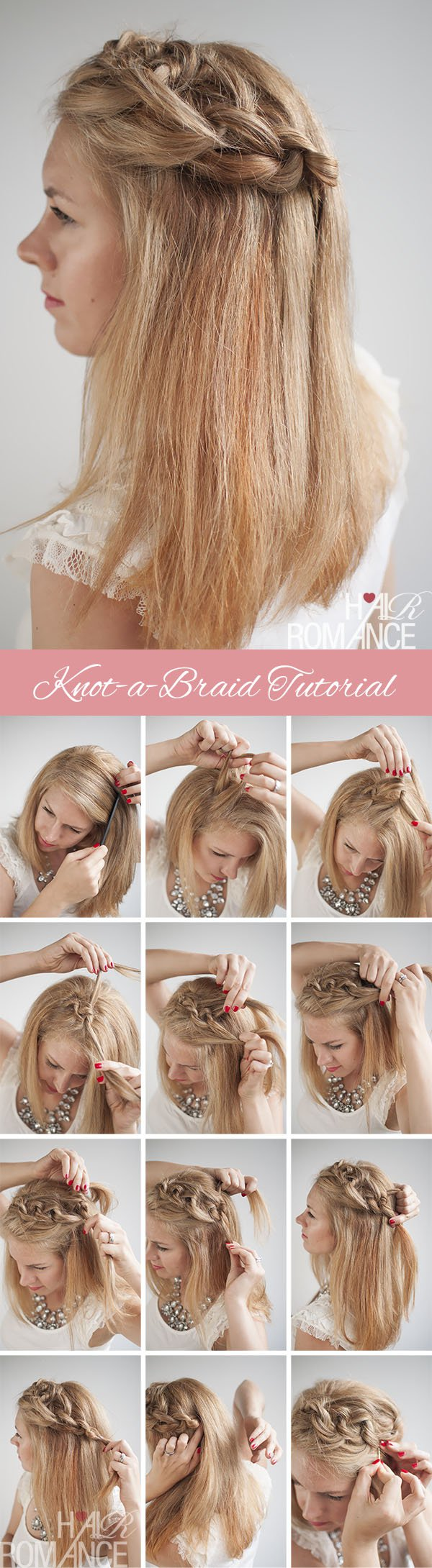 Tutorial for knotted braided hairstyles