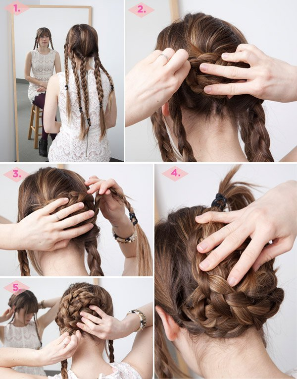 Braided updo hairstyle tutorial for brown hair