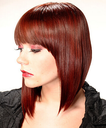 Nice straight haircut with blunt bangs