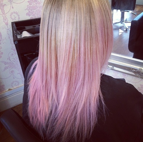 Blonde fade to pink ombre hairstyle for girls