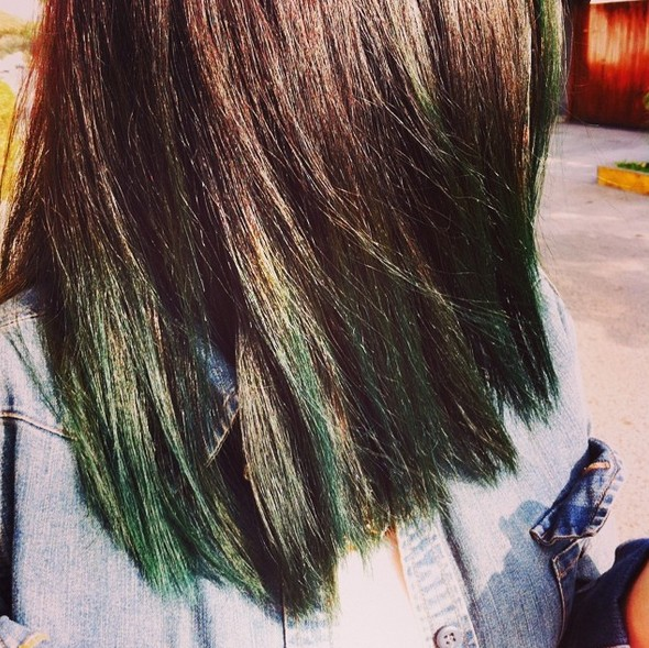 Brunette hair with dark green color