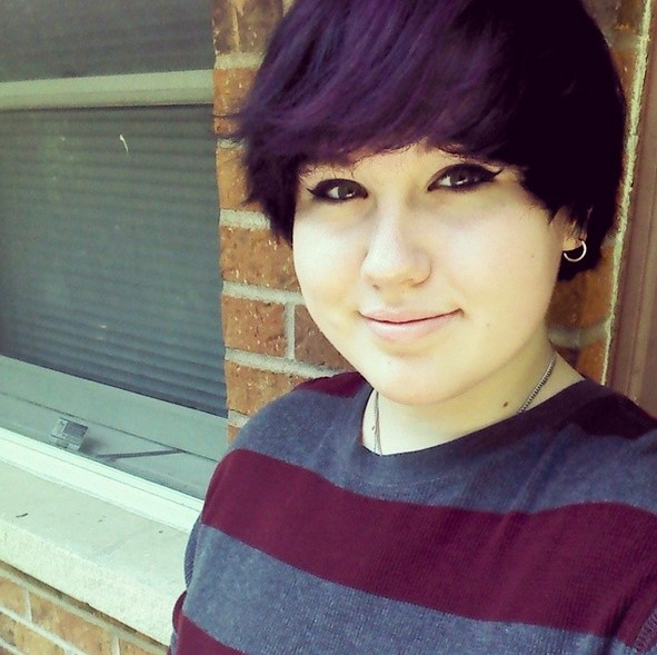 Chic short hairstyle with deep purple