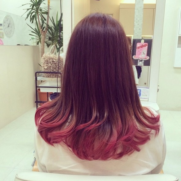 Dip dye hairstyle for long straight hair