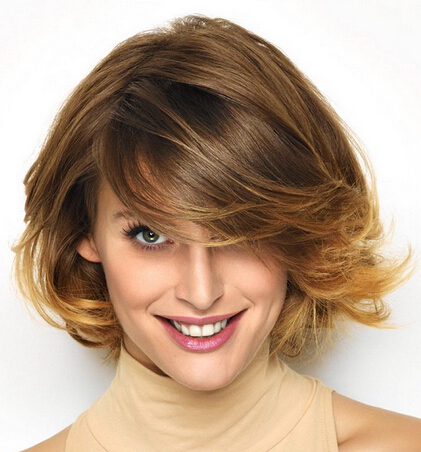 Fashionable short hairstyle split on the side