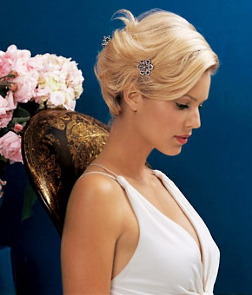 Simple updo wedding hairstyle for short hair