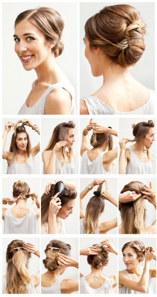 Twisted updo hairstyle tutorial