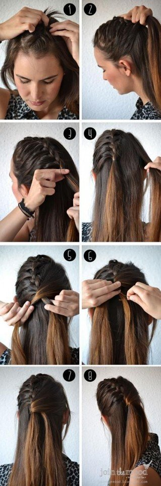 Half braided hairstyle tutorial