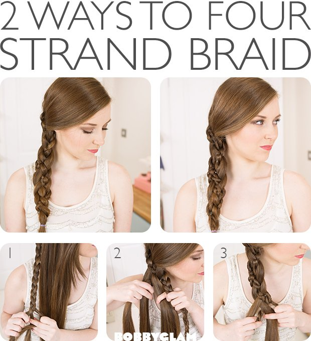 Tutorial for four-strand hairstyles