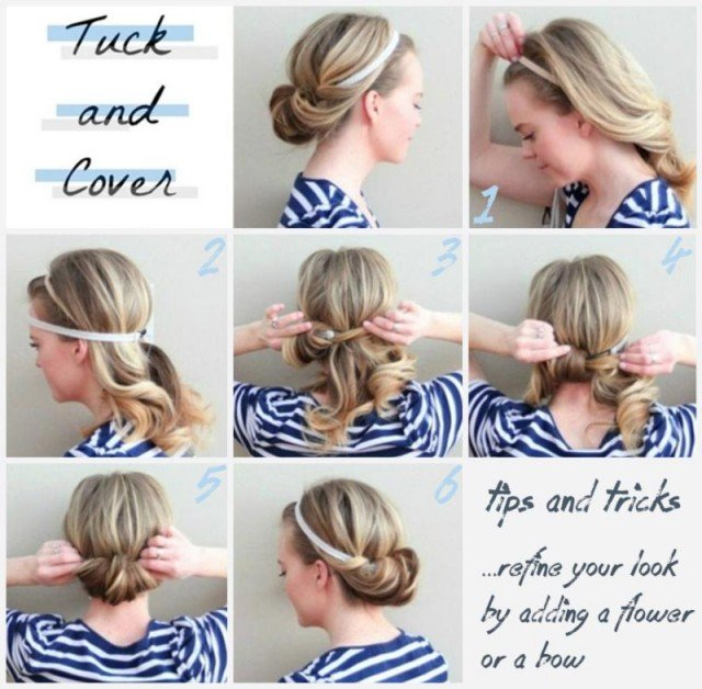 Simple headband hairstyle tutorial