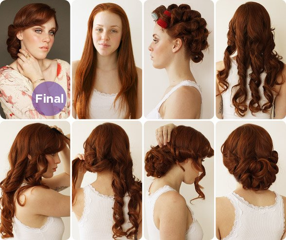 1930s curly updo hairstyle tutorial
