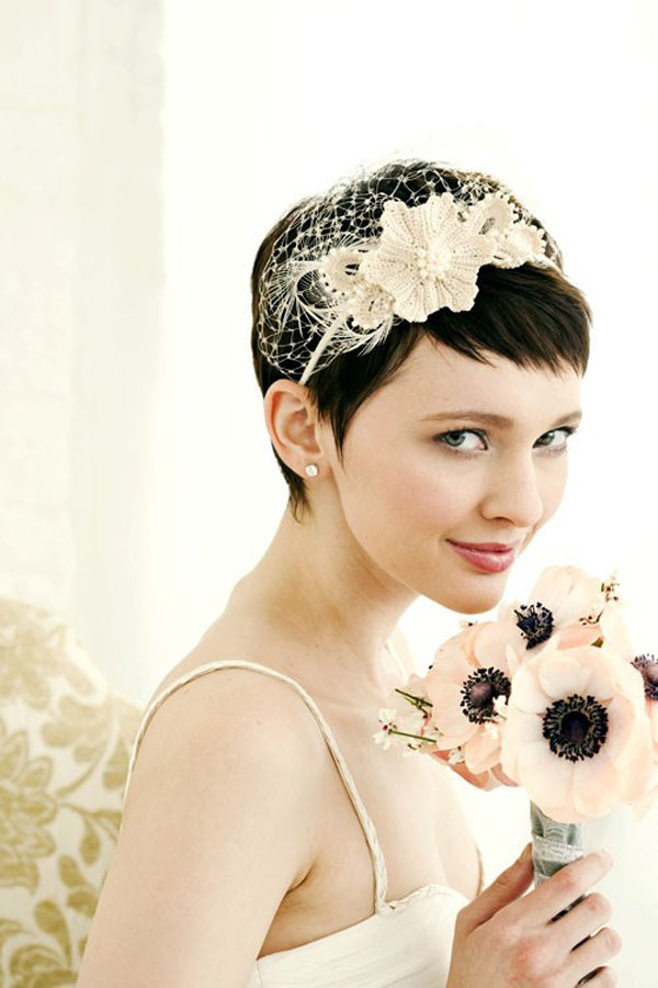 Simple short bridal hairstyle