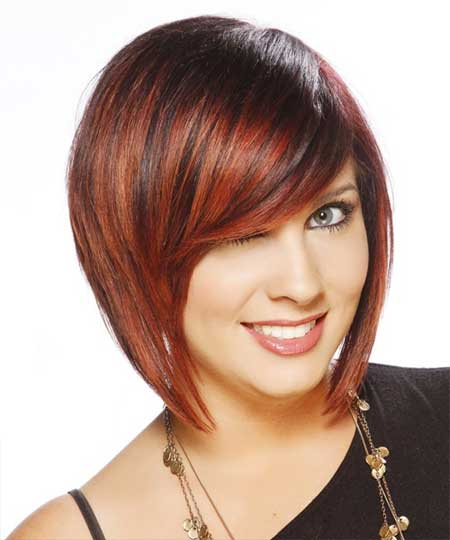 Red straight bob hairstyle