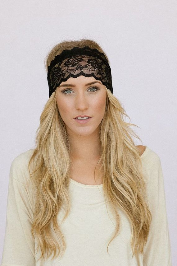 Stunning hairstyle with black lace headband