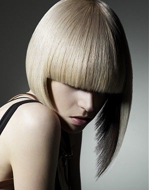 Platinum bob hairstyle with blunt bangs