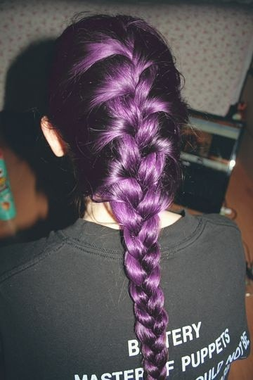 Long braided hairstyle for purple hair
