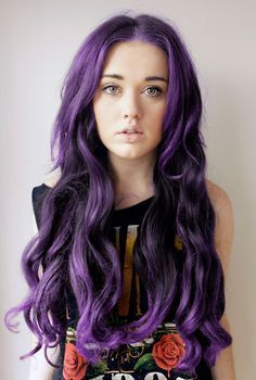 Middle part long curls for purple hair
