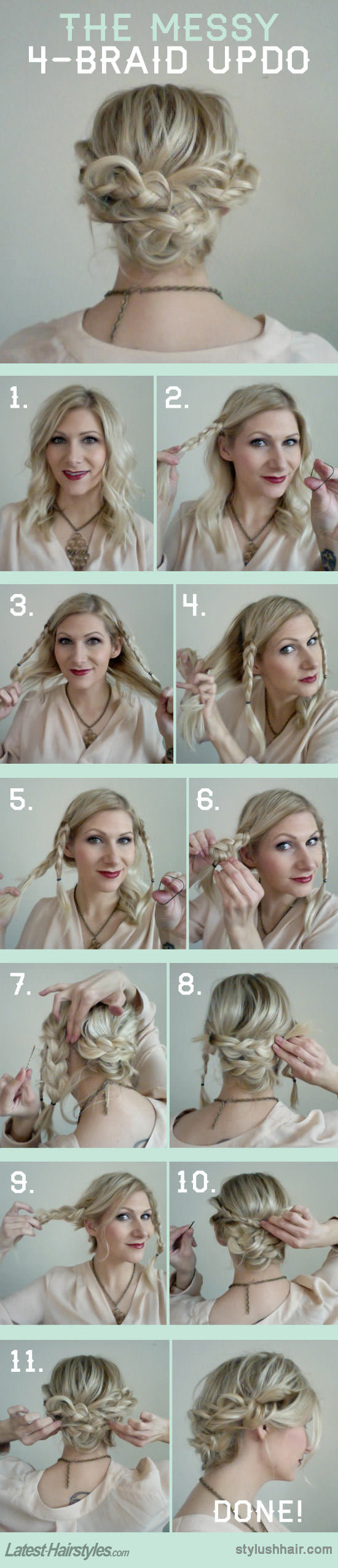 Updo hairstyle with four braids