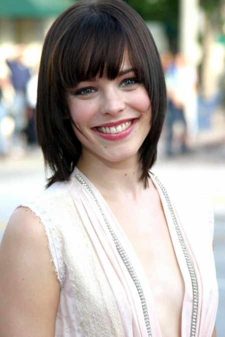 Rachel Mcdam's medium haircut with blunt bangs
