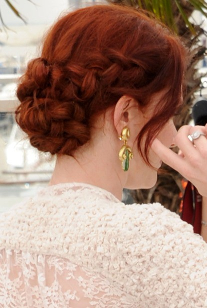 Fishtail bun for red hair