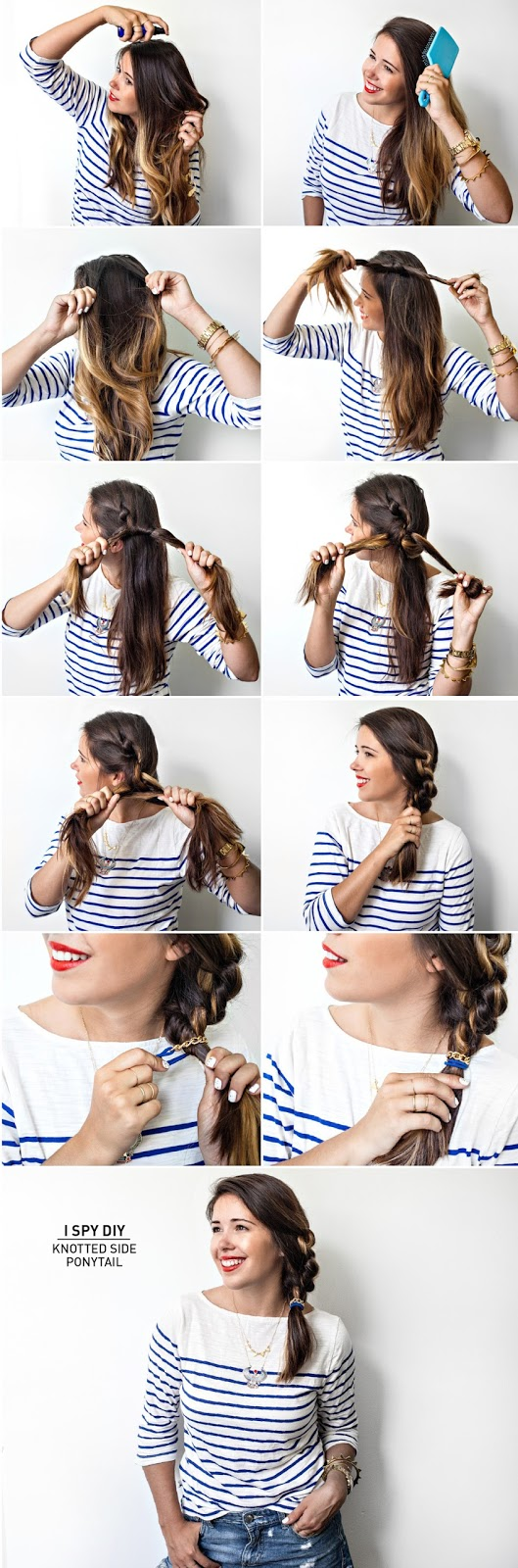 DIY knotted side ponytail