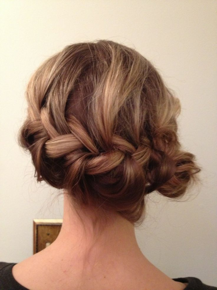 French braid to the side bun