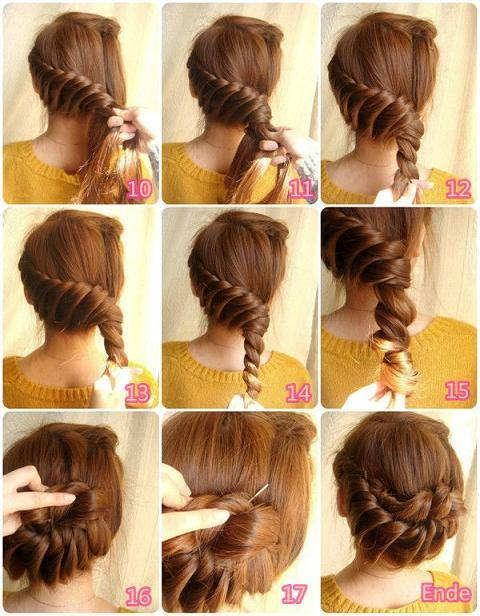 Braided and twisted bun hairstyle