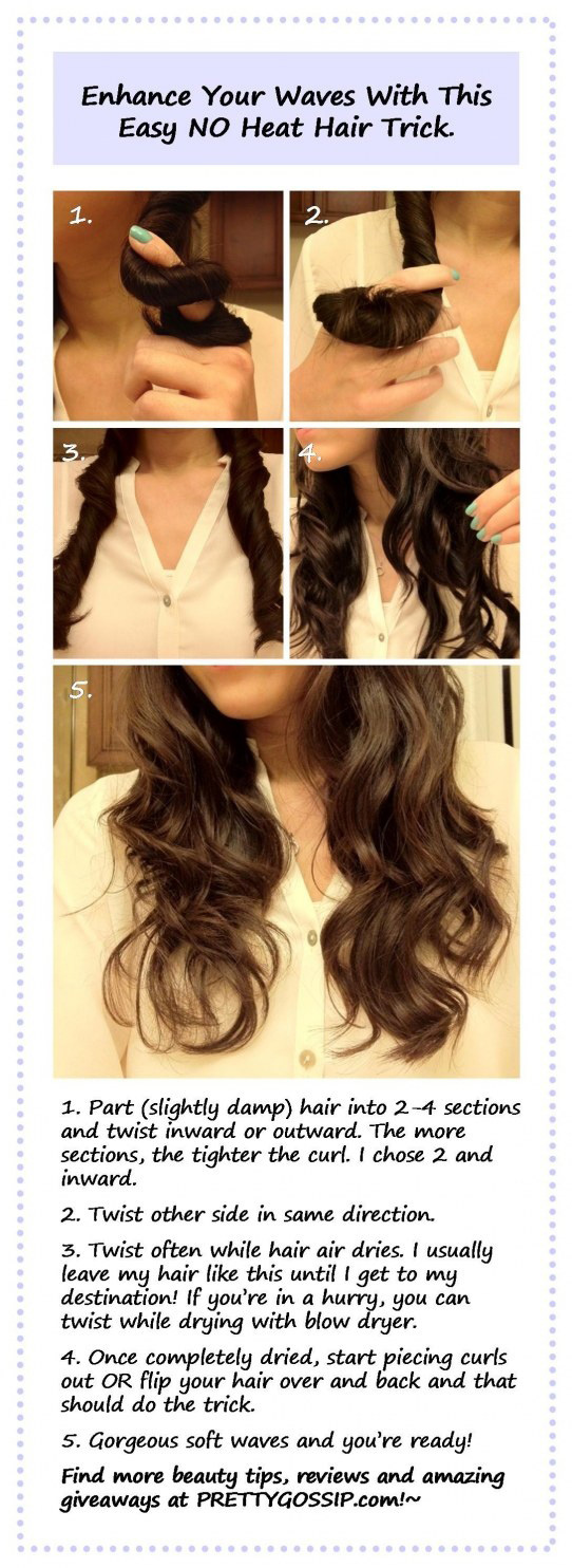 Twist your hair into sections for light curls or waves