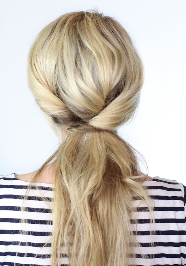 Twisted ponytail for blonde hair