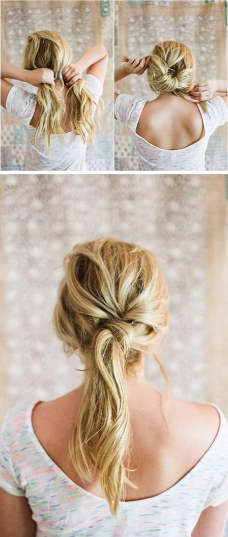 Twisted ponytail with a knot