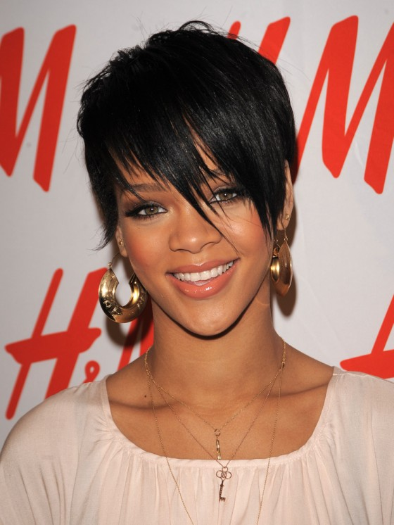 Rihanna, short hairstyle with fringes