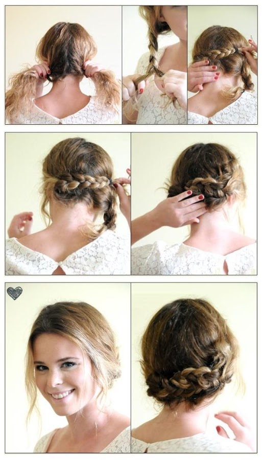 Crown braid with side part