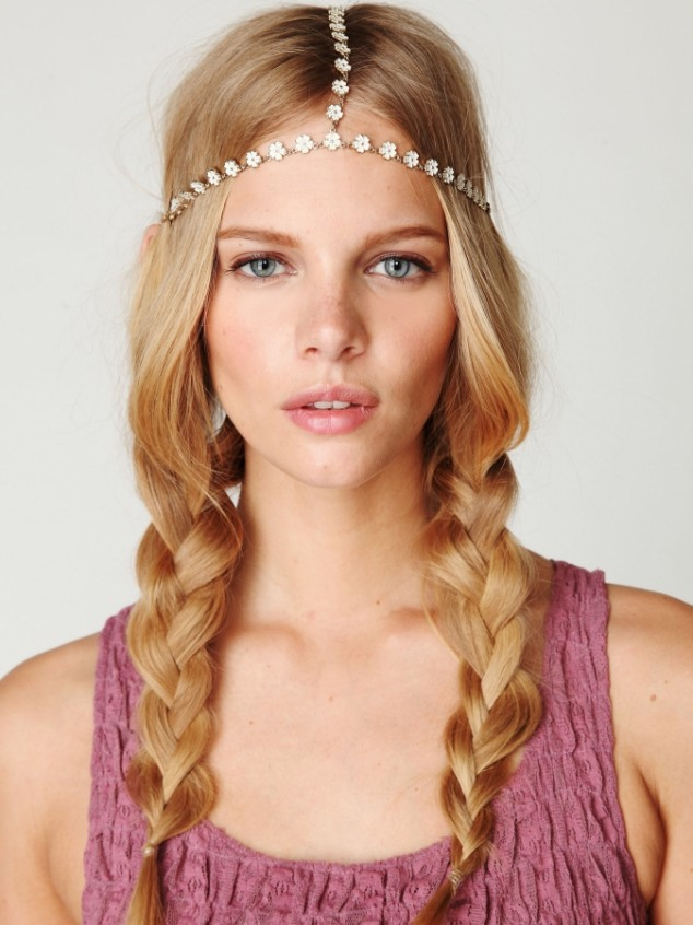 Braided side bangs hairstyle