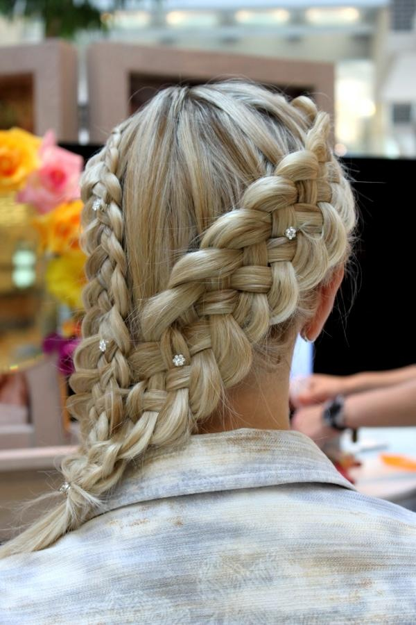 Double braided bangs hairstyle