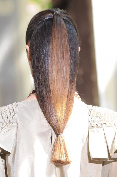 Half up long straight hairstyle