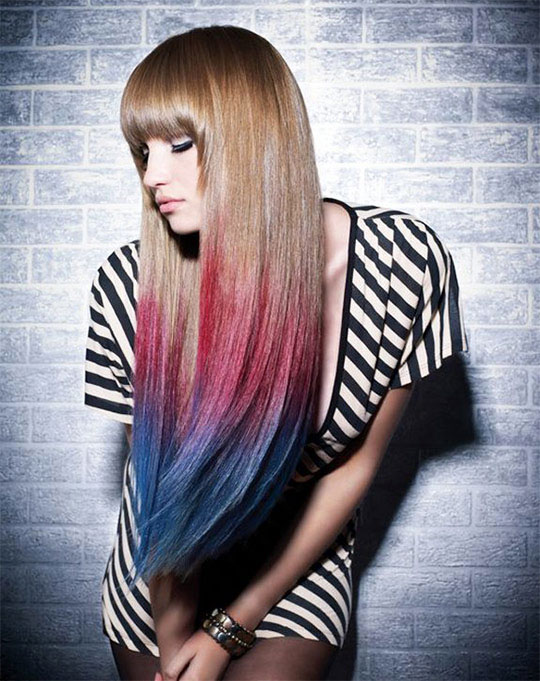 Colored long straight hairstyle with bangs