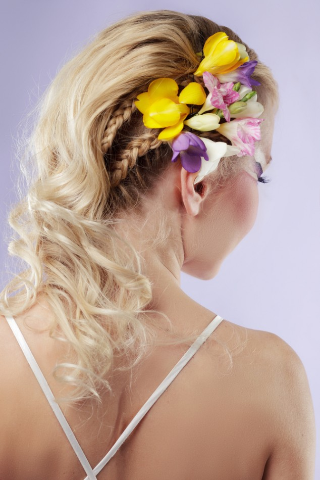 Long Wavy Braid Floral Bride Hairstyle Over