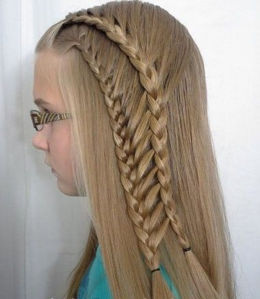 Braided hairstyle for little girls over