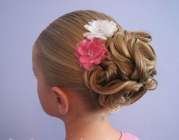 Twisted bun hairstyle for little girls over