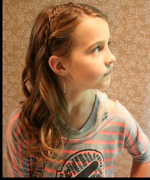 Braided bangs hairstyle for little girls over