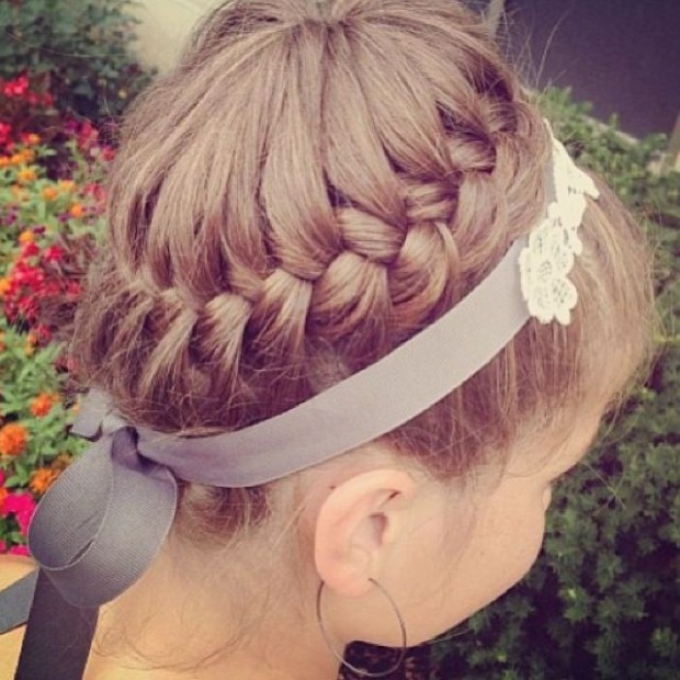Braided crown hairstyle for little girls over